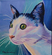 Acrylic Cat Painting